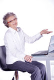 Senior lady on computer Royalty Free Stock Images
