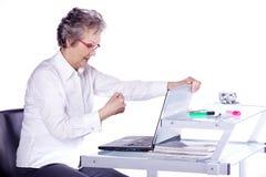 Senior lady on computer Stock Image