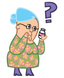 Senior lady confused. A cartoon of an elderly lady confused about her medication Stock Photography