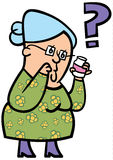 Senior lady confused. A cartoon of an elderly lady confused about her medication Royalty Free Stock Photography