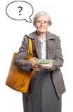 Senior lady counting money, with thought bubble Royalty Free Stock Photos
