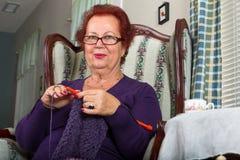 Senior Lady Crocheting Royalty Free Stock Images