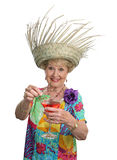Senior Lady - Cruises & Cocktails. A beautiful senior woman inviting you to join her for a cocktail royalty free stock photo