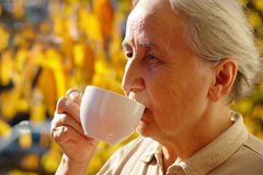 Senior Lady Drinking Tea Stock Photography