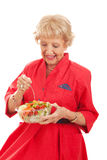 Senior Lady Eating Healthy Salad Stock Photography