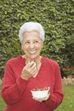 Senior lady eating strawberry. Mature lady eating strawberries in her garden Stock Photo