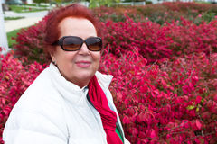 Senior Lady Enjoying the Burning Bushes Stock Photos