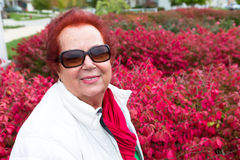 Senior Lady Enjoying the Burning Bushes Stock Images