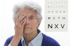 Senior lady eyes exam Royalty Free Stock Images