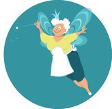 Senior lady fairy. Modern fairy god mother or grandma with wings and magic wand, EPS 8 vector illustration Stock Images