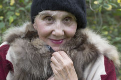 Senior Lady In Fur West Royalty Free Stock Photos