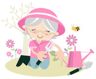 Senior Lady Gardening Royalty Free Stock Images