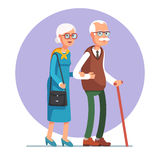 Senior lady and gentleman walking together. Senior lady and gentleman with silver hair walking together arm-in-arm. Old age couple. Flat style vector Stock Photo