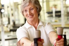 Senior lady at gym Royalty Free Stock Photography