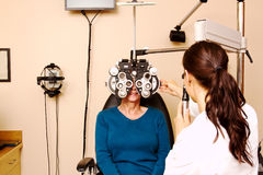 Senior lady having eye examination Royalty Free Stock Image