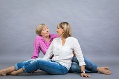 Senior lady with her middle-aged daughter Stock Photos