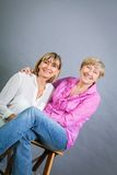Senior lady with her middle-aged daughter Stock Photo
