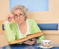 Senior lady holding a book Royalty Free Stock Photography