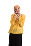 Senior lady holding cell phone. Stock Photography