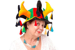 Senior Lady with Jester's Hat Royalty Free Stock Images