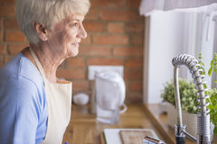 Senior lady in the kitchen Stock Photography