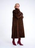 Senior lady with mink coat b Stock Photo
