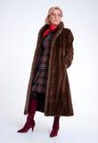 Senior lady with mink coat d Stock Image
