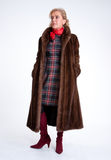 Senior lady with mink coat e Royalty Free Stock Images