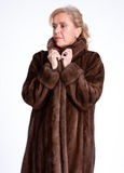 Senior lady with mink coat g Stock Image