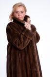 Senior lady with mink coat h Stock Photo