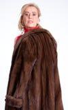 Senior lady with mink coat i Royalty Free Stock Photography