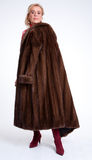 Senior lady with mink coat j Royalty Free Stock Images