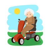Senior Lady on a Mobility Scooter. Elderly people moving on scooter. Elderly transport. Stock Image