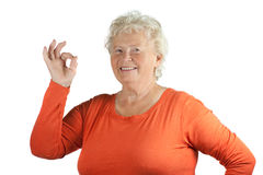Senior Lady with OK gesture Stock Photos