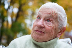 Senior lady outside in fall Royalty Free Stock Images