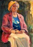 Senior lady painting Royalty Free Stock Photo