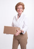 Senior lady with parcel Royalty Free Stock Image