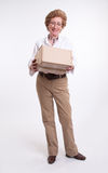 Senior lady with parcel Stock Images