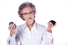 Senior lady with pc mouse Royalty Free Stock Photo