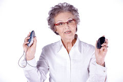 Senior lady with pc mouse Stock Photos