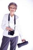 Senior lady with photo equipment Stock Photography