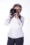 Senior lady with photo equipment Stock Image