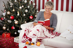 Senior lady reading in front of the Christmas tree Stock Image