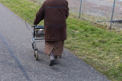 senior lady with rollator on a bikeway royalty free stock photo