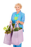 Senior Lady Shops Green. Senior woman carrying her groceries in reusable cloth grocery bags.  Isolated on white Royalty Free Stock Images