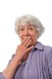 Senior lady showing surprise stock photo