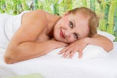 Senior lady at spa Stock Image