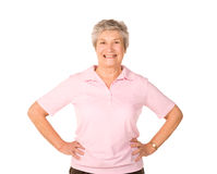 Senior lady stretching before exercise Royalty Free Stock Photography