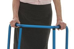 Senior lady with a walker Stock Photo