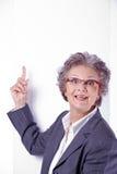 Senior lady with white banner Stock Photos